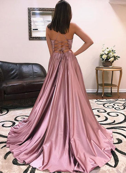 Prom Dresses With Slit Satin Long Pink Evening Dresses