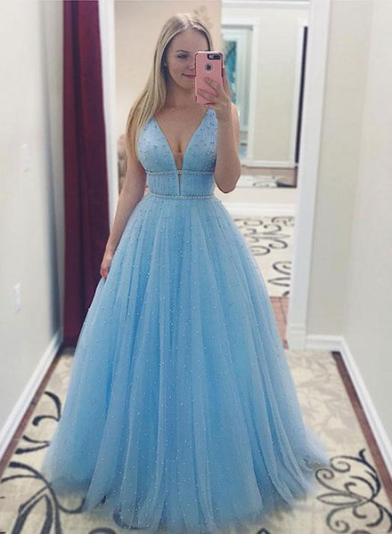 Evening Dresses Beaded Sky Blue Prom Dress Long Tulle Dresses