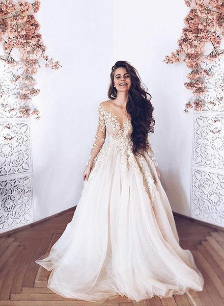 Evening Dress Long Sleeves White Tulle Prom Dress  Appliques