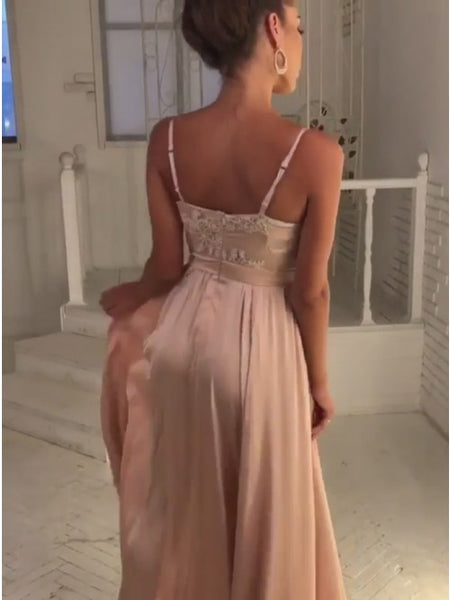 Evening Dress Satin Champagne Long Prom Dress Appliques