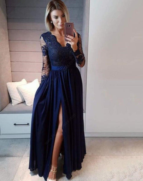 Evening Dress Lace V Neck Prom Dress Long Sleeves Slit