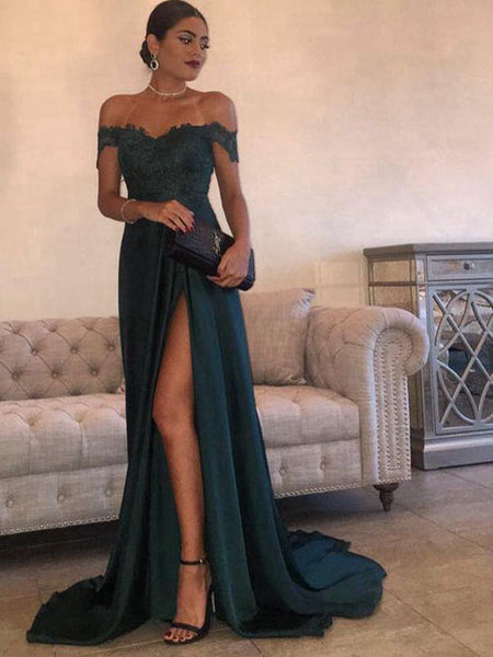 Evening Dress Dark Green Prom Dress Off The Shoulder Appliques Slit