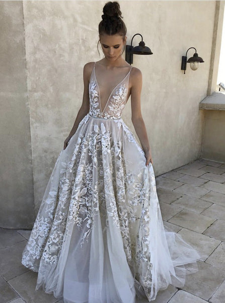 Prom Dresses White Deep V Neck Long Evening Dress
