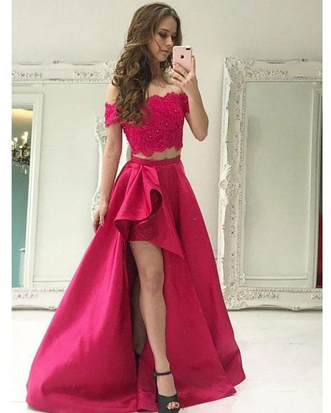 Evening Dresses Two Piece Prom Dress Satin Ruffles Slit