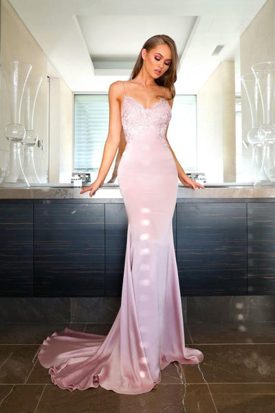 Sheath V Nevk Prom Dress Evening Dress With Appliques