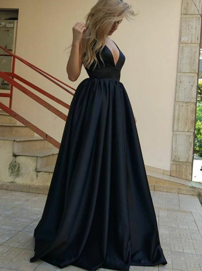 Evening Dresses Navy Blue Prom Dresses Backless Affordable