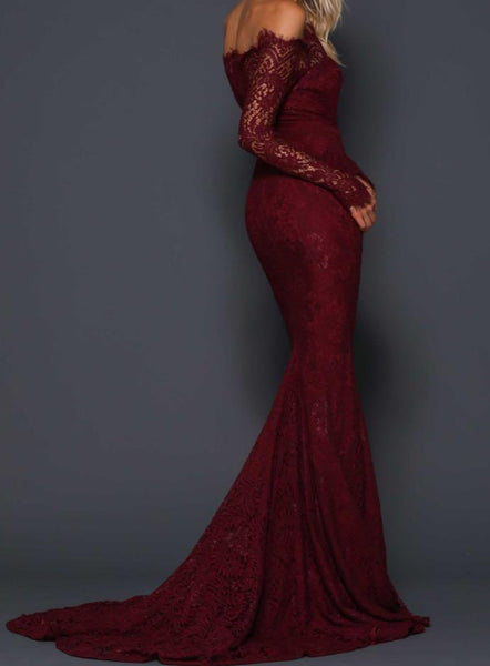 Evening Dresses Burgundy Off The Shoulder Prom Dress Long Sleeves
