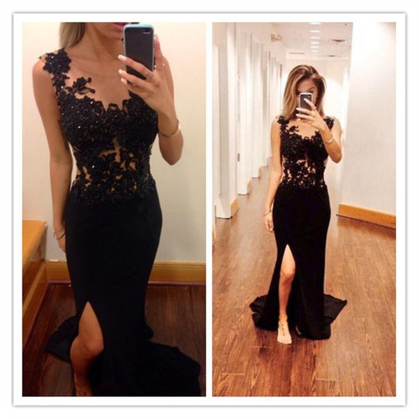 Elegant Black Lace Prom Dresses
