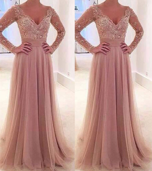 Elegant Long Sleeve Prom Dresses