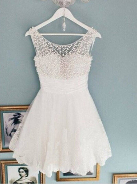 Ivory Homecoming Dresses with Pearl