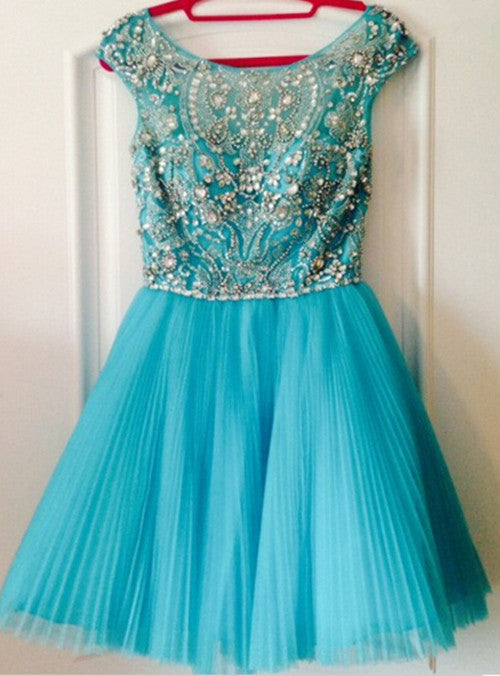 Beading Scoop Cap Short Tulle Homecoming Dress
