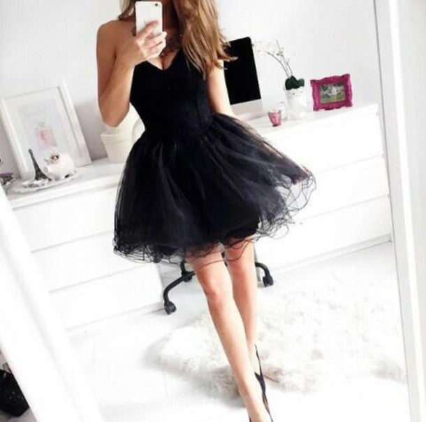 2017 Short Little Black Homecoming Dress Free Fast Shipping