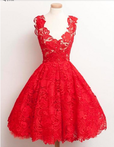 Red Lace Homecoming Dress Bridesmaid Dress