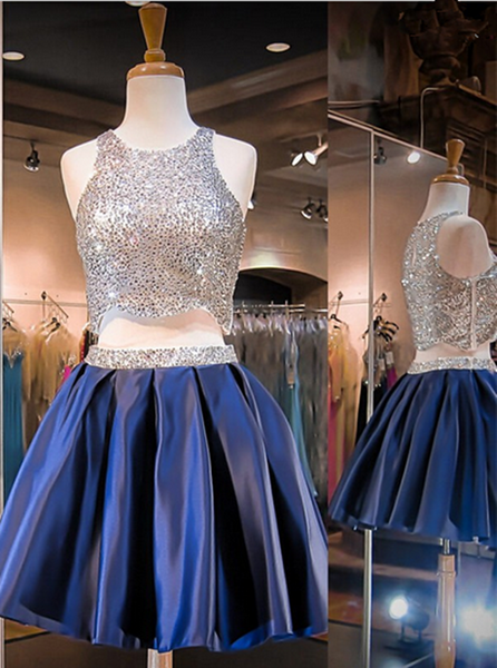Blue Two Pieces Homecoming Dress with Sequins