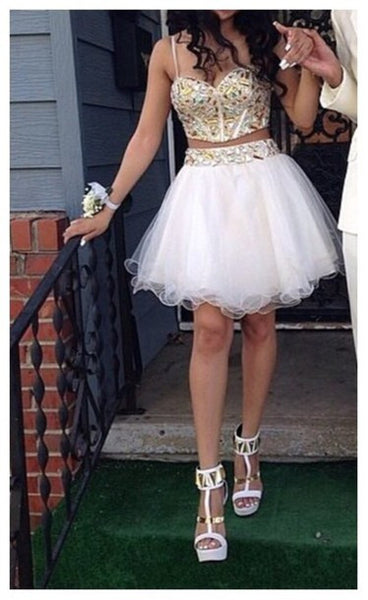 White Two Piece Homecoming Dresses