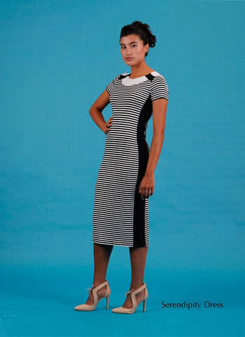 midi length stripe dress with contrast panels