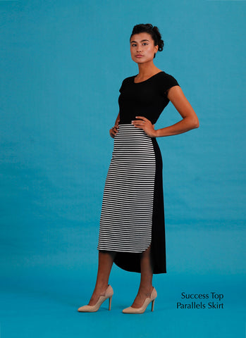 Ponte LBD with stripe skirt