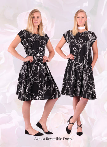 Reversible black floral loose summer dress