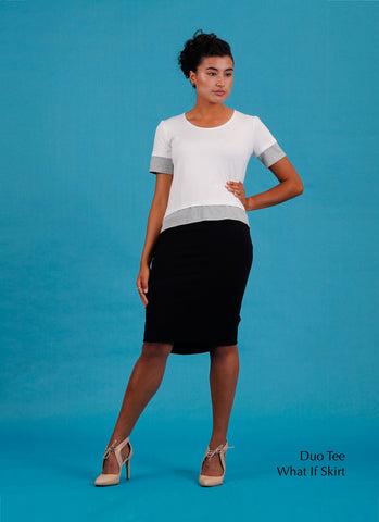 stretch black pencil skirt with designer white tee