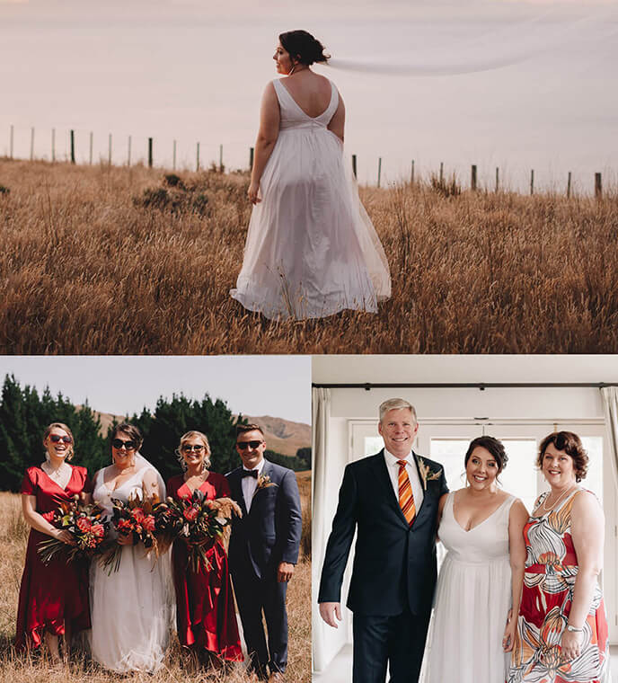 bride with her bridesmaids and mother wearing dresses from clothing by desiree