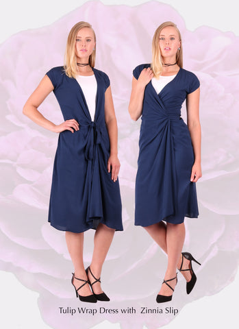 womens designer navy wrap dress