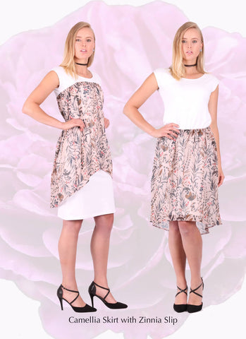 Organi cotton slip with floral designer skirt