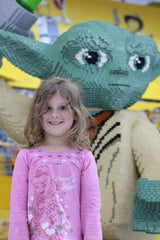 Aria in Melbourne with a large Lego Yoda