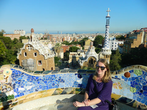 Jen in Barcelona wearing travel knit dress from Desiree clothing