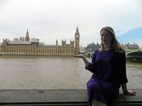 Jen Wearing Desiree Batwing Knit dress in front of Big Ben