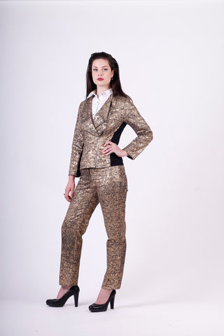 gold crackle suit