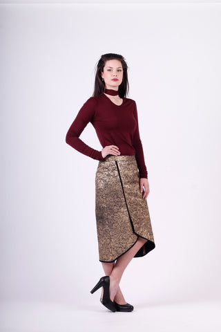 Gold crackle skirt