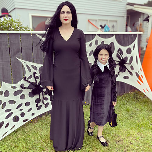mother and daughter wearing halloween outfits made by desiree