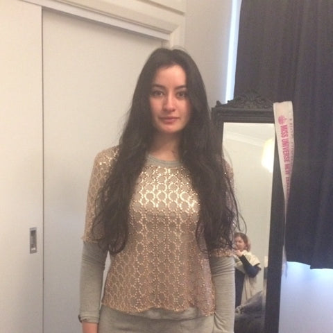Soph Dalmuir model fitting for women fashion designer desiree