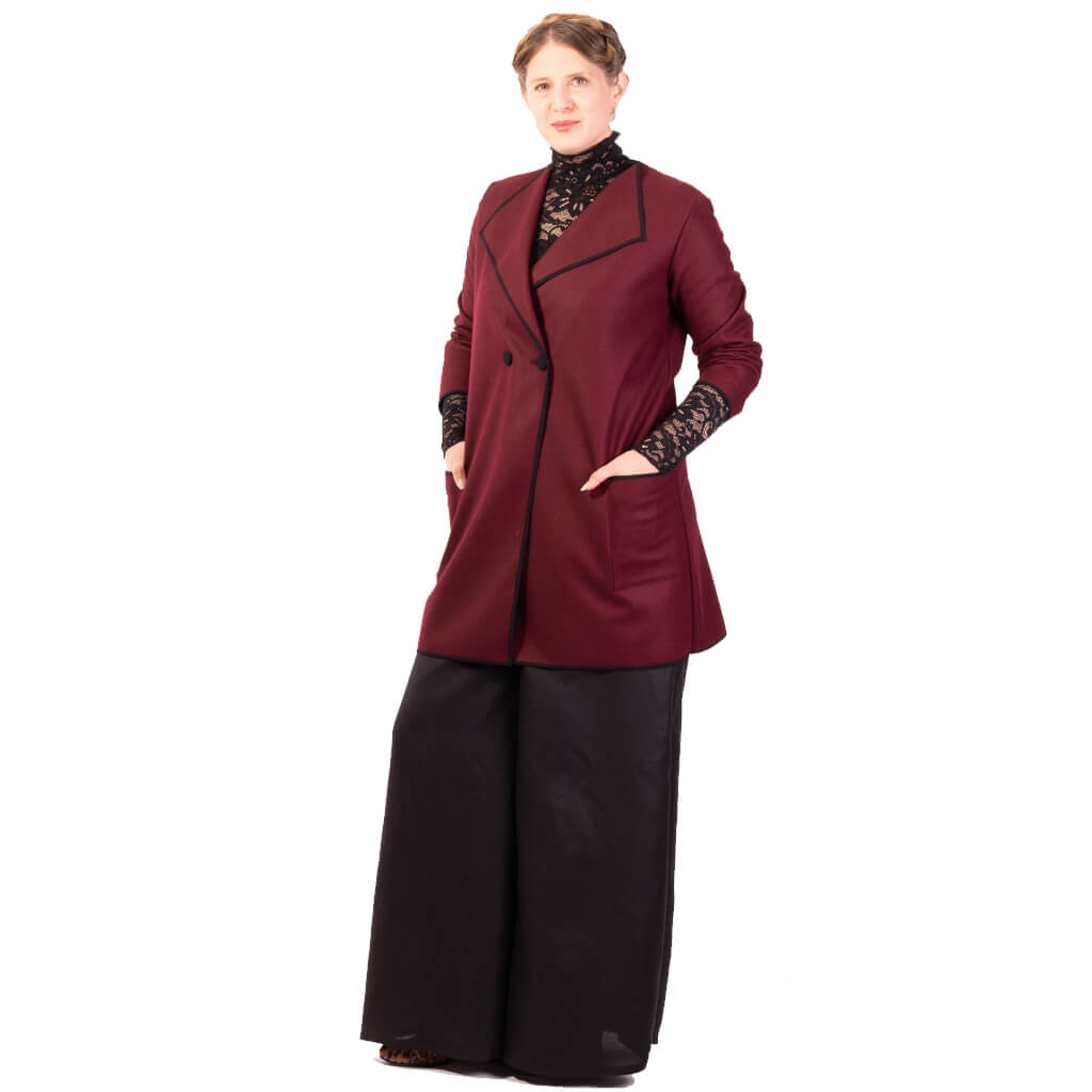 womens burgundy wool double breasted coat