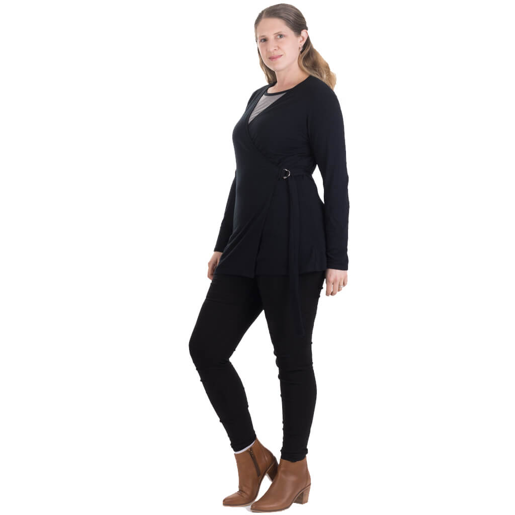 black merino cardigan