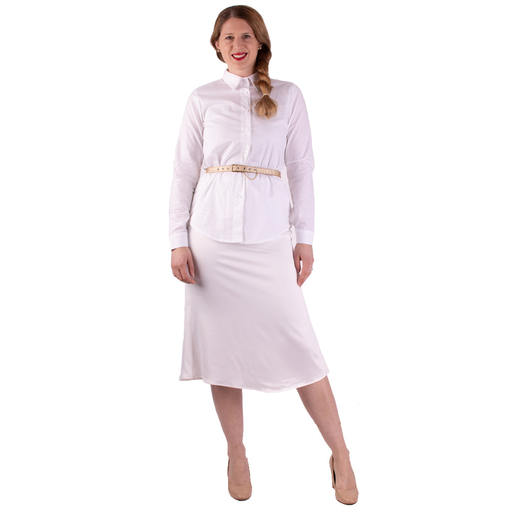 ladies classic crisp white shirt, basic in every womans wardrobe