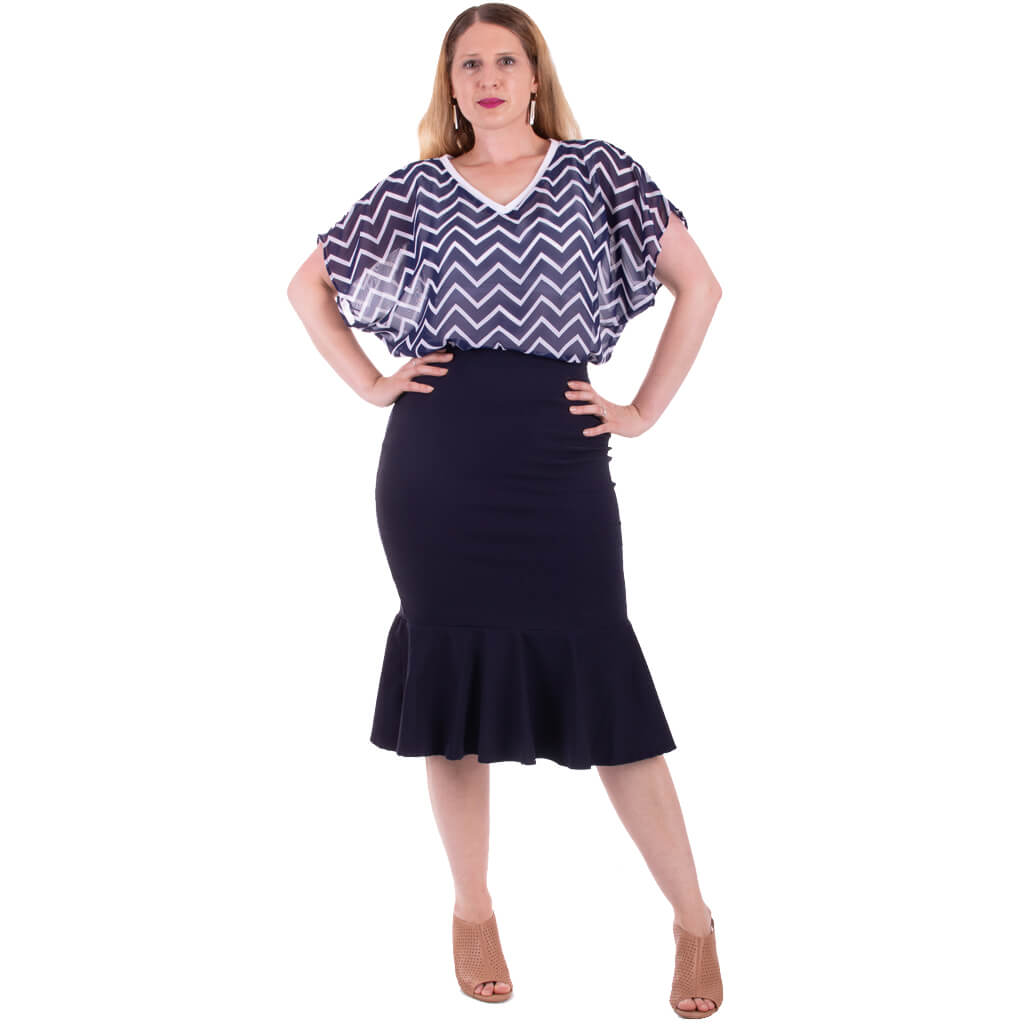 womens navy chevron print chiffon fashion top
