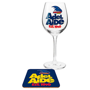 Adelaide Crows Wine Glass and Coaster