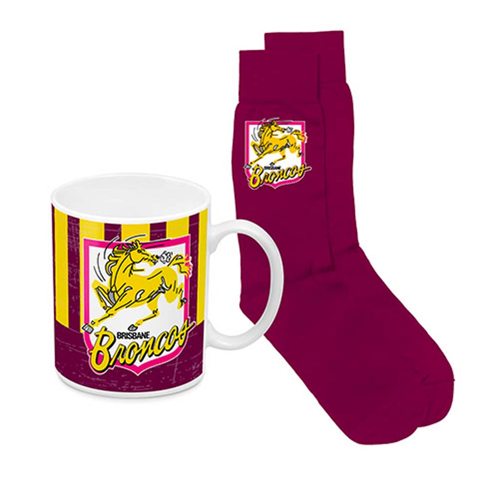 Brisbane Broncos Heritage Mug and Socks Pack