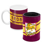 Brisbane Broncos Mug and Can Cooler Gift Pack