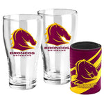 Brisbane Broncos Pint Glass and Can Cooler