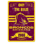 Brisbane Broncos Retro Metal Sign