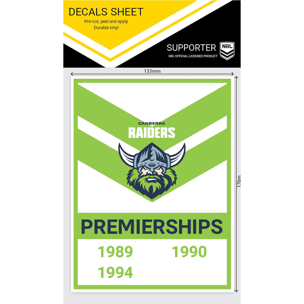 Canberra Raiders Premiership Years Decals