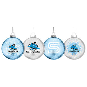 Load image into Gallery viewer, Cronulla Sharks Glitter Baubles Set