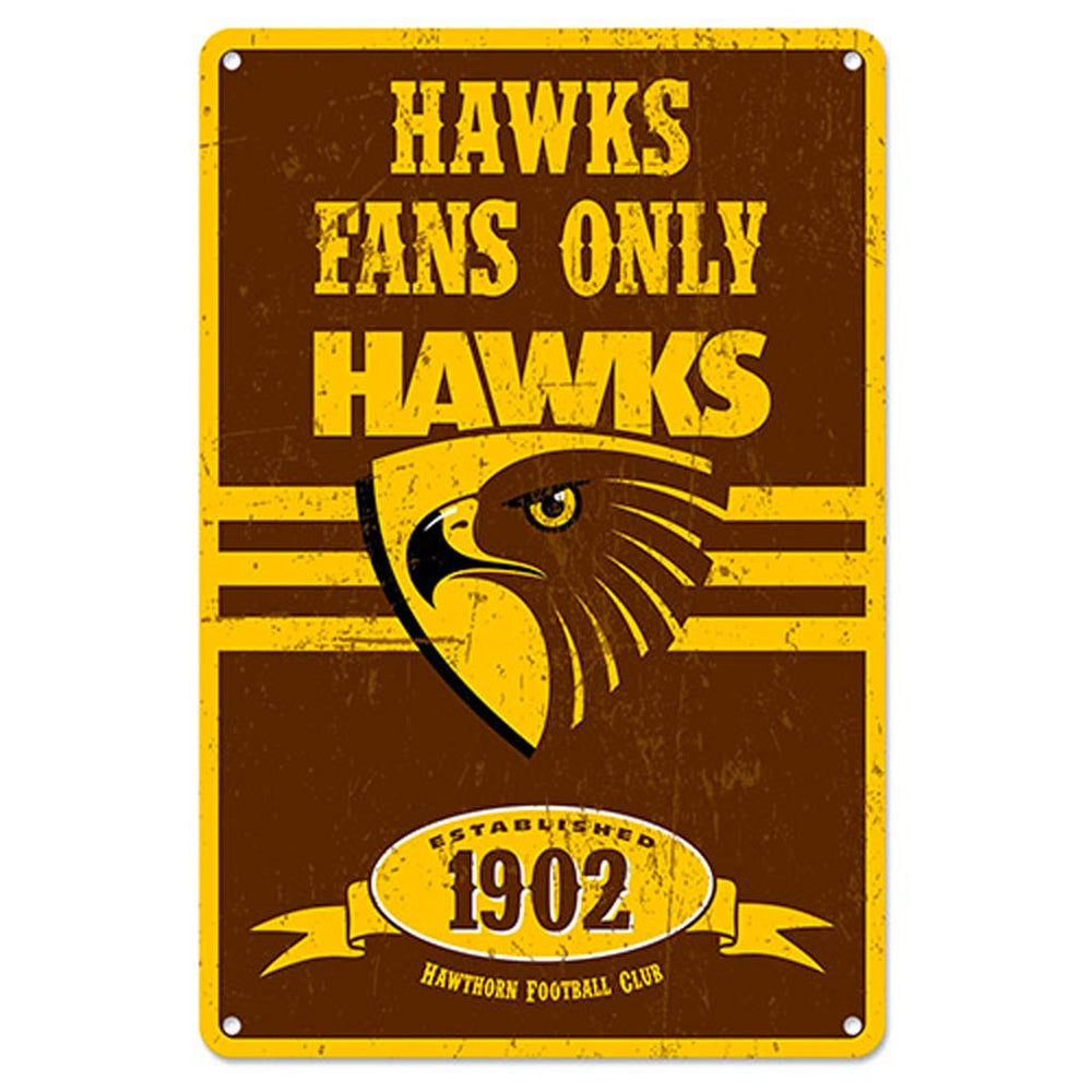 Load image into Gallery viewer, Hawthorn Hawks Retro Metal Sign