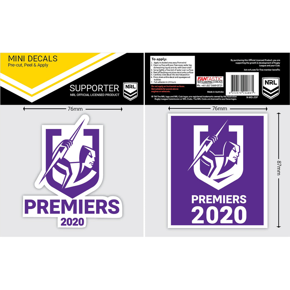 Melbourne Storm 2020 Premiers Mini Decals Set