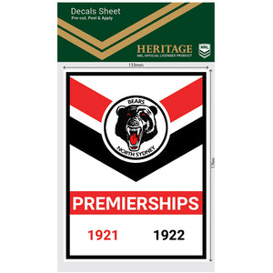 North Sydney Bears Premiership Years Decals