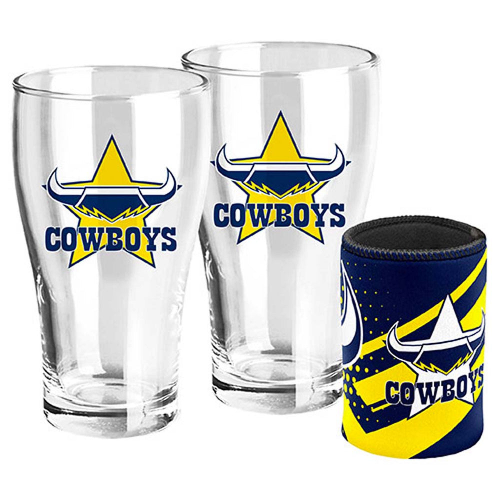 North Queensland Cowboys Pint Glass and Can Cooler