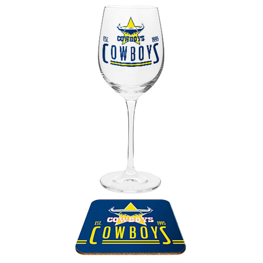 North Queensland Cowboys Wine Glass And Coaster Jerseys Megastore