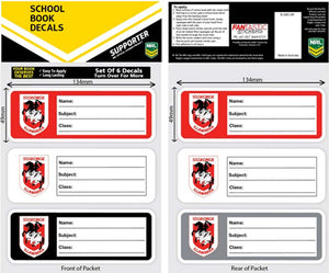 St George Dragons School Book Decals 6pk